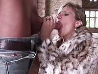 Large titty cougar mom plowing young stud in public